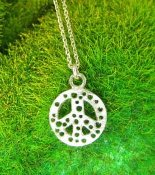 Jessica Hicks Tiny Peace Sign Necklace in Silver