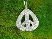 Jessica Hicks Lace Peace Sign Necklace in Silver