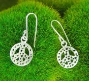 Jessica Hicks Tiny Peace Sign Earrings in Silver