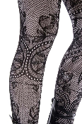 Keira's Favorite Black Romance Floral Vine Lace Tights