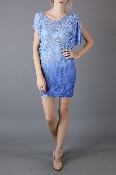 Umgee Coachella Diagonal Dip Dye Shredded Tunic Top or Mini Dress