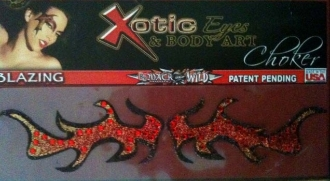 Blazin or Blaze Choker self adhesive body art from Xotic Eyes