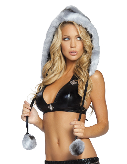 J Valentine Fur Hood with Pom Poms