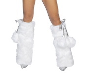 J Valentine Fur Boot Covers with Pom Poms