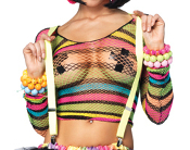 Leg Avenue Rainbow Striped Fishnet Top