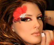 Burlesque Red Feather Eye self adhesive body art from Xotic Eyes
