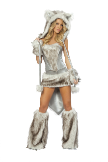 J Valentine Wolf Fur Skirt and Corset