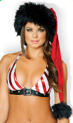 J Valentine Red and Black Deluxe Santa Hat