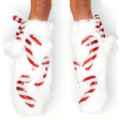 J Valentine Candy Cane Fur Leg Warmers Boot Covers with Pom Poms