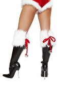 J Valentine Santa Fur Boot Topper with Bells