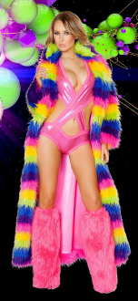 J Valentine Faux Fur Coat in Rainbow Pattern
