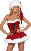 J Valentine Skirt and Corset with Fur Trim