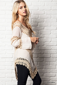 Coachella Crochet Knit Tunic Top