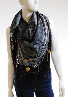 Tolani Black and Grey Silk Square Scarf