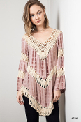 Tie Dyed Crochet Knit Tunic Top