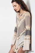 Multicolored Crochet Knit Tunic Top