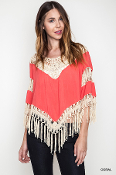 Fringe Crochet Knit Tunic Top