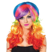 Leg Avenue Rainbow Rocker Multi Color Long Wavy Wig