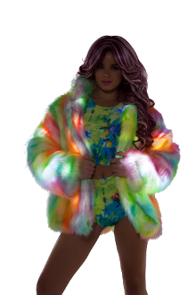 J Valentine Rainbow Sherbet Light Up Hip Length Fur Coat
