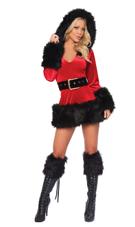 J Valentine Zipper Front Hooded Mini Dress with Black Fur Trim