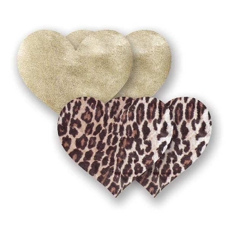 Nippies hearts in leopard, red, pink, or black