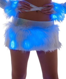 J Valentine Faux Fur Light Up Skirt