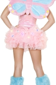 J Valentine Light Up Tutu or Petticoat in Pink with rainbow colored Butterfly lights
