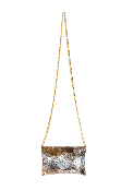 JJ Winters #257 Turtle Leather Chain Strap bag in silver/gold with Gold Chain
