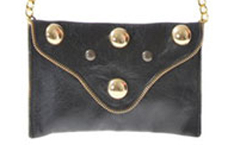 JJ Winters Embellished Coin Purse in leather with chain strap