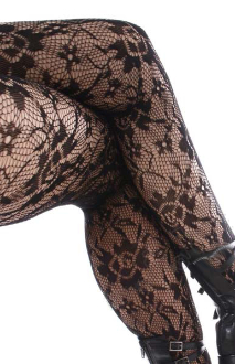 Keira's Favorite Black Rose and Daisy Floral Lace Tights