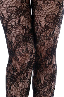 Keira's Favorite Black Climbing Floral Vine Lace Tights