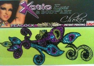Peacock Choker self adhesive body art from Xotic Eyes