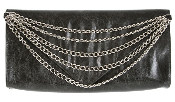 JJ Winters #226C Envelope Clutch with Chain Embellishments