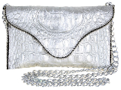 JJ Winters #286 Leather Chain Strap Clutch with Zipper Edging
