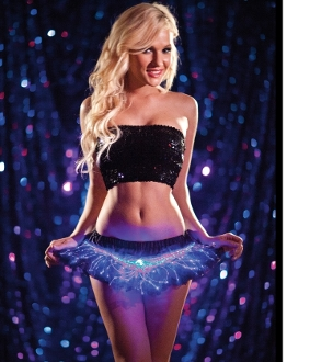 Mini black light up petticoat with blue lights