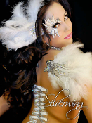 Wings with Silver Rhinestones and White Feathers self adhesive body art from Xotic Eyes