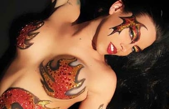 Blazin or Blaze Tatas self adhesive body art from Xotic Eyes