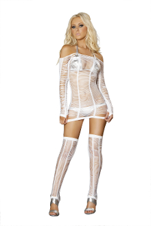 J Valentine String Net Dress with Long Sleeves