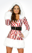 J Valentine Candy Cane Hooded Dress