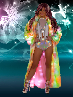 J Valentine Faux Fur Light Up Coat in Rainbow Sherbet Colors