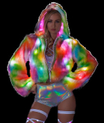 J Valentine Rainbow Sherbet Light Up Short Length Fur Coat