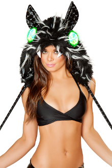 J Valentine Spike Fur Hood that Lights Up