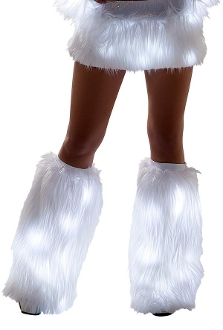 J Valentine Faux Fur Light Up Leg Warmers