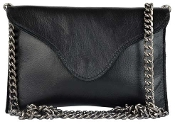 JJ Winters Miley Chain Clutch in black crocodile patent leather
