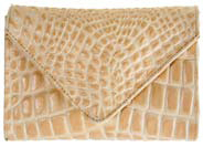 JJ Winters #276 Amanda Envelope Clutch in Bone Croco