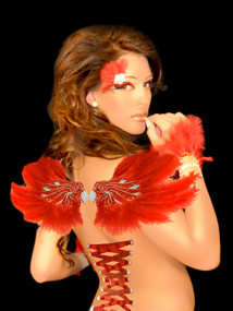 Burlesque Wings with Red Feathers self adhesive body art from Xotic Eyes